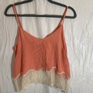 Wilfred Silk Coral Crop Top with Lace XS